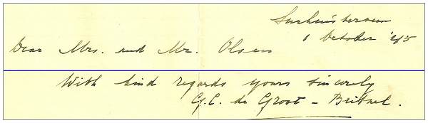 Letter from Rev. de Groot to Mr. and Mrs. Olson - 01 Oct 1945