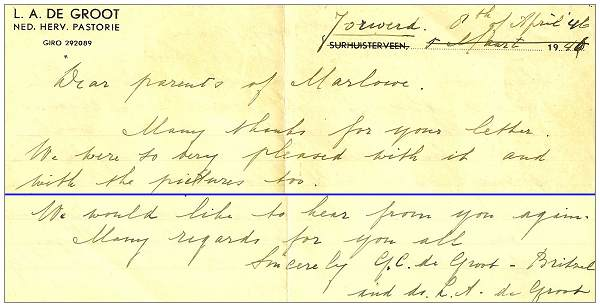Letter from Rev. de Groot to Marlowe - 08 Apr 1946