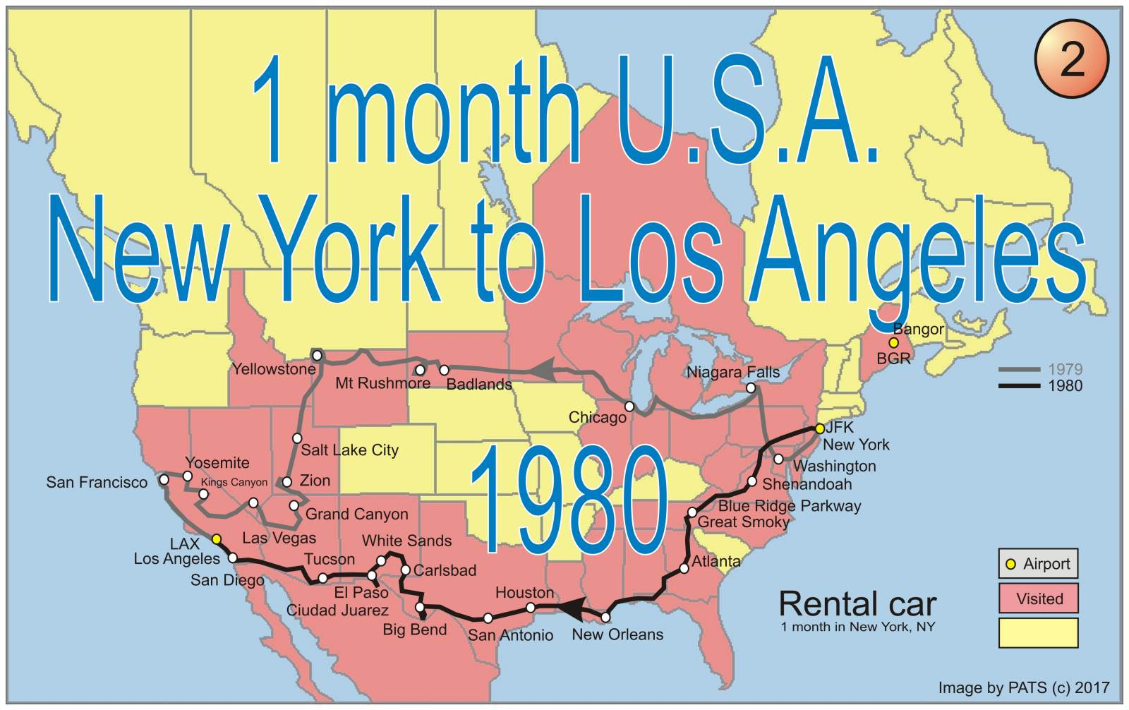 1980 - 1 month - New York to Los Angeles