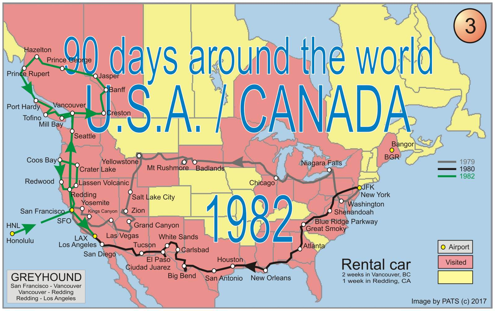 1982 - 90 days - Round the World - U.S.A. / CANADA