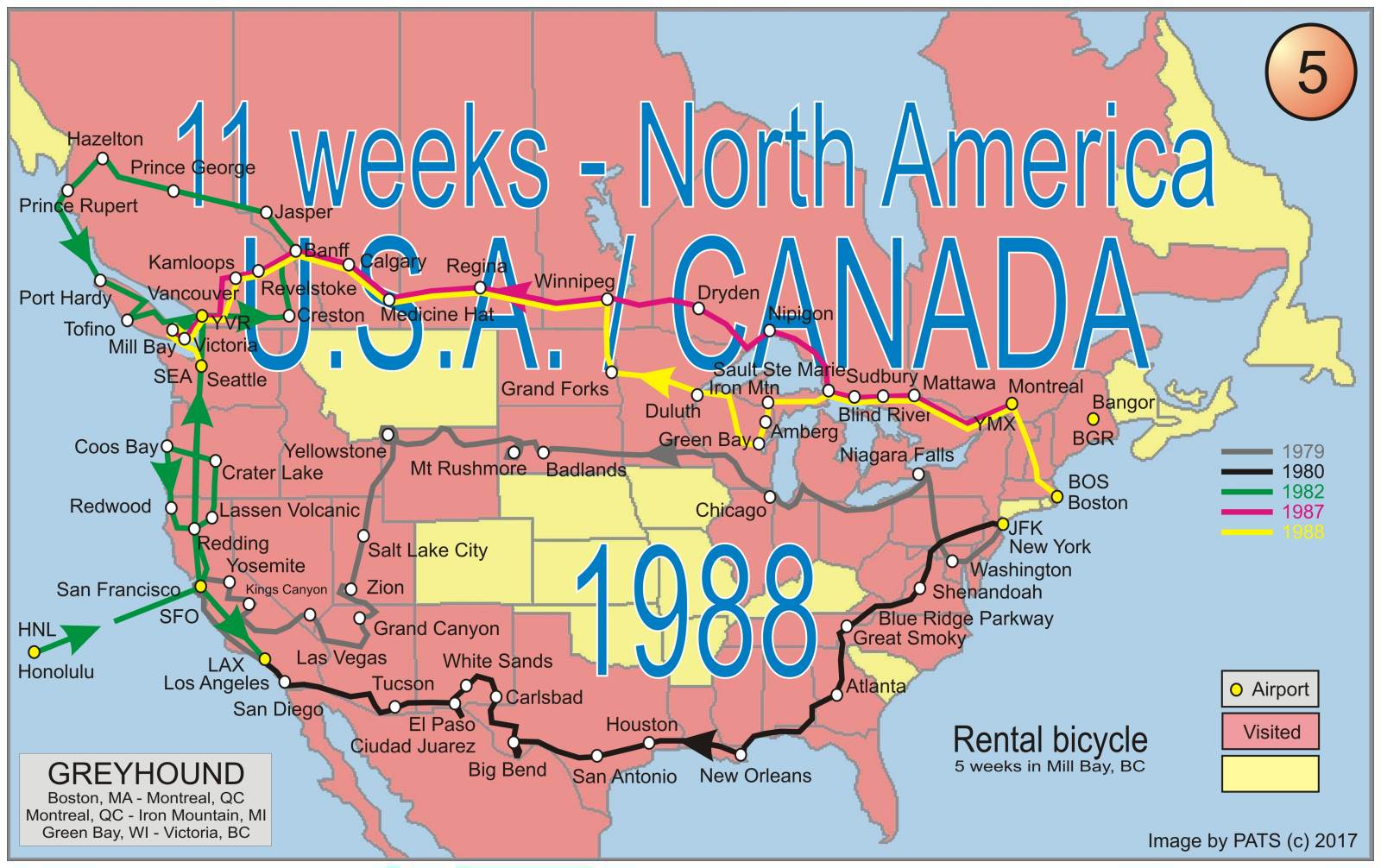 1988 - 11 weeks - across North-America to Vancouver Island