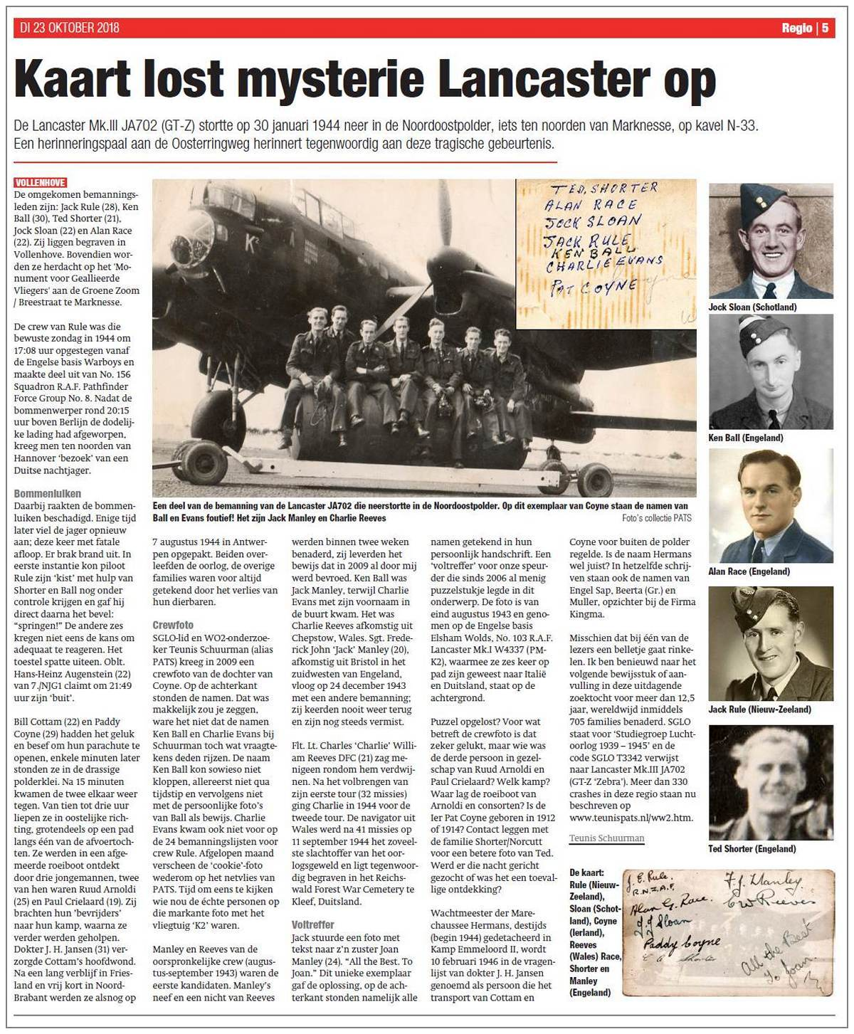 23 Oct 2018 - article about finding of the right names of the original crew Rule (Aug 1943)