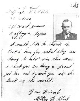 Thanks note from Elton F. Kevil to Cometeline - guide Henry Nys