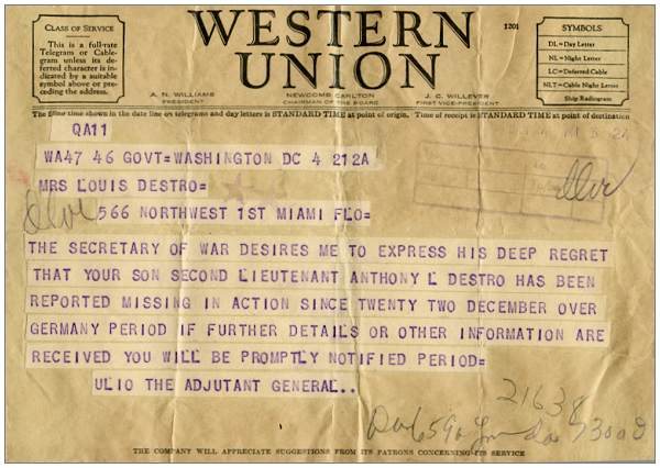 2nd Lt. Anthony L. Destro - reported Missing In Action - telegram