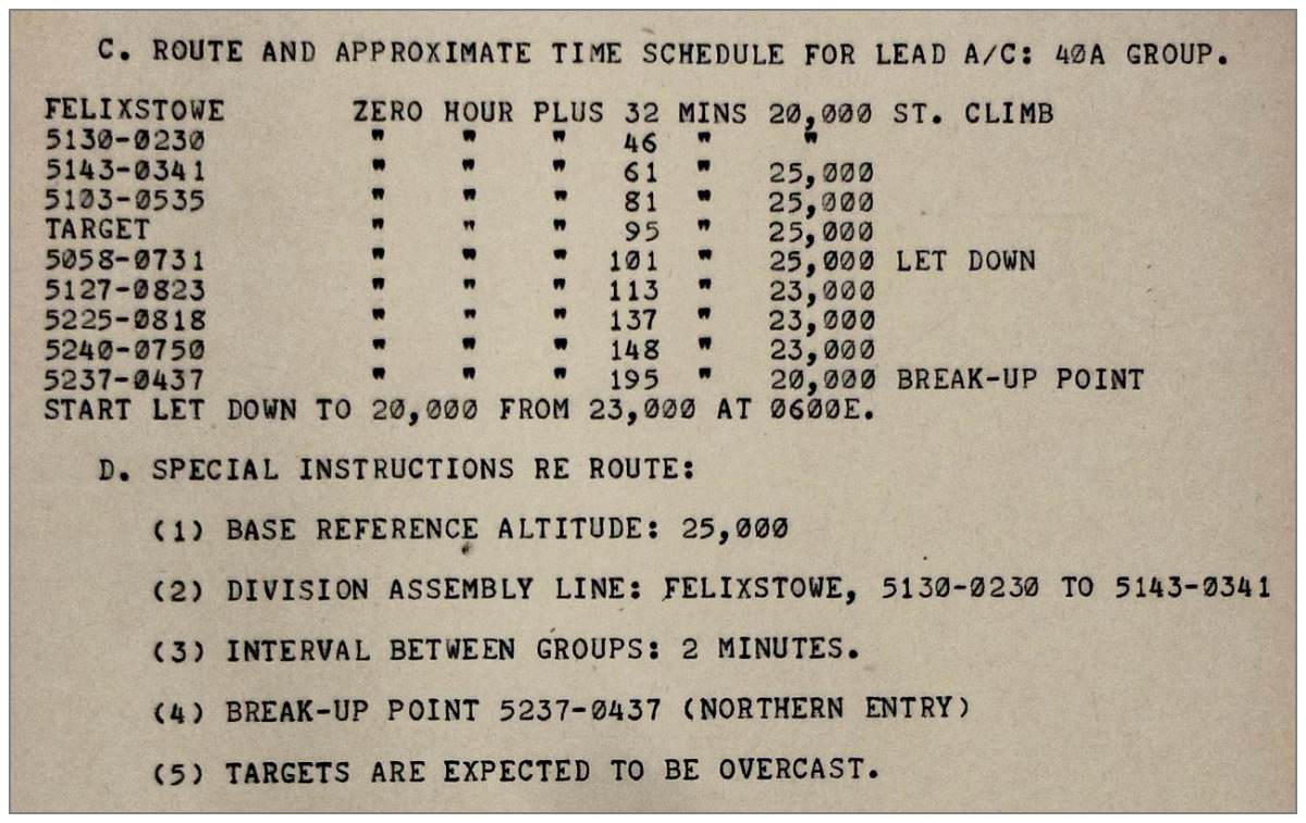 Lead 40A - route and approximate time schedule - 28 Jan 1945 - Cologne