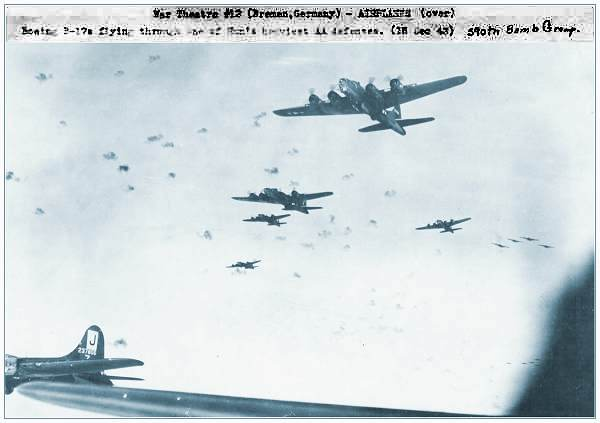 390 BG - #42-31218 (top) and #42-37806 (left) over Bremen, Germany - 16 Dec 1943