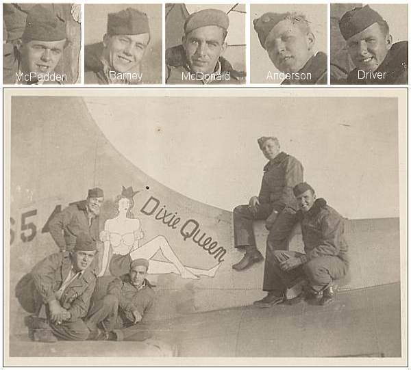 Tail #44-6547 with 5 Airmen - Tail Turret Gunner - S/Sgt. Charles W. Anderson Jr. - 2nd right