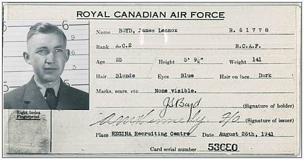 AC2 - James Lennox Boyd - 26 Aug 1941, Regina Recruiting Centre, Regina - RCAF