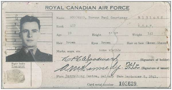 R/131658 - AC2 - ID card - Norman Paulle Courtney Woodward - RCAF - 05 Dec 1941