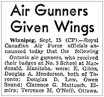Ontario Air Gunners Given Wings - 15 Sep 1941