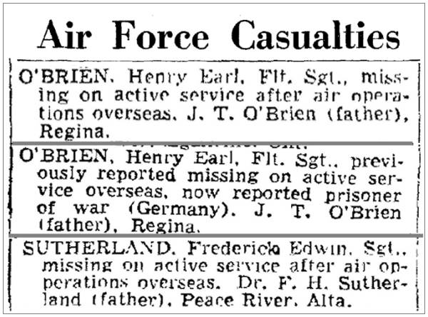 Air Force Casualities - O'Brien and Sutherland