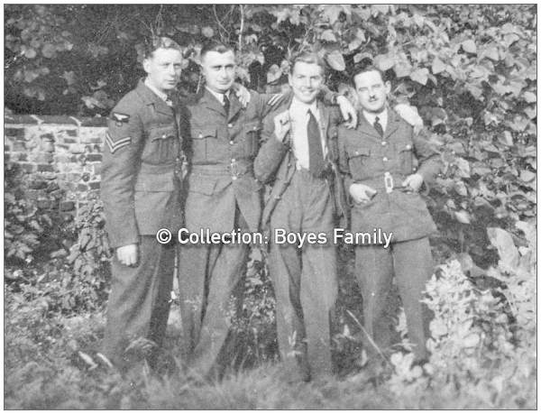 Three unknown airmen with Sgt. James Riby Boyes on the right - collection: Boyes family
