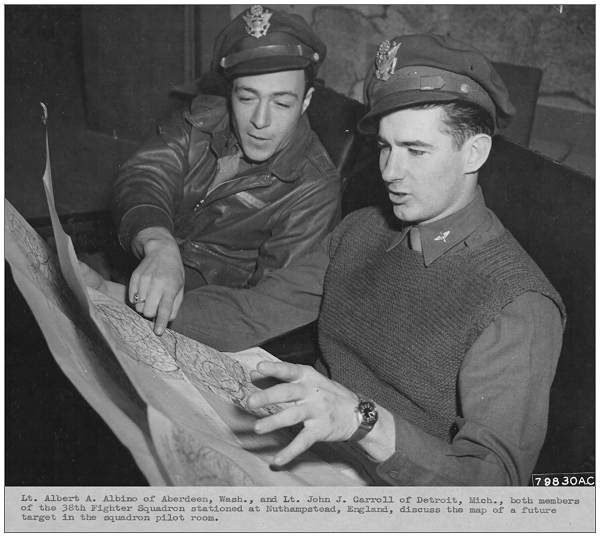 Lt. Albert A. Albino and Lt. John J. Carroll - discuss map