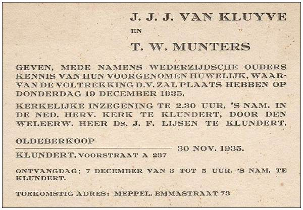 Announcement - Marriage 19 Dec 1935 - J. J. J. van Kluyve and T. W. Munters