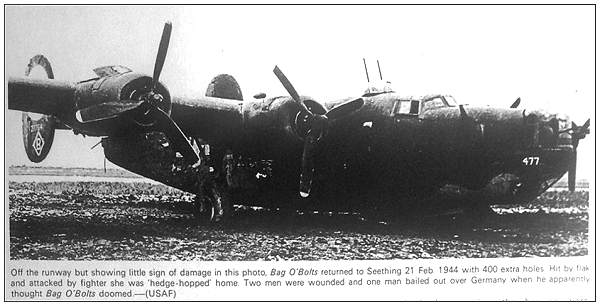 B-24H-5-FO - #42-7764 'B' - 'Bag O'Bolts' - Seething, UK - 21 Feb 1944 - with 400 extra holes