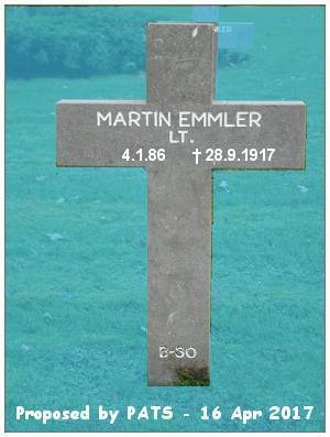 Lt. Martin Emmler - Grab B 30 - 1914-1918 Ysselsteyn - proposed by PATS