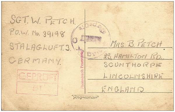 Back of Postcard - Sent by Sgt. Walter Petch - POW 3918 - Stalag Luft 3