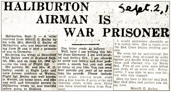 'Haliburton Airman Is War Prisoner' - F/Sgt. Merrill George Bailey - RCAF
