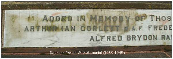 Ballaugh Parish - War Memorial 1939-1945 - F/Sgt. Arthur Ian Corlett - RAF