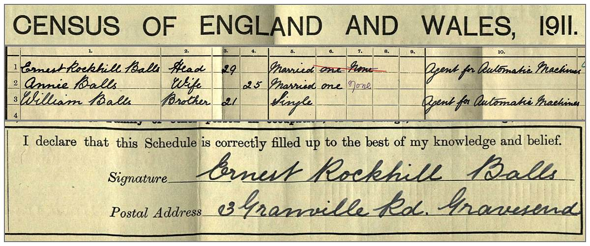 Family Balls in Census 1911 UK