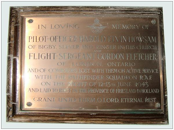 Memorial for Howsam and Fletcher - Bigby Church, Lincolnshire, UK