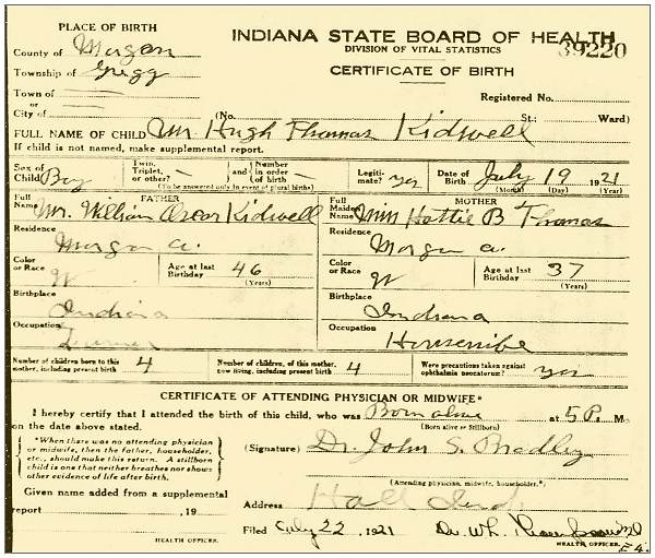 19 Jul 1921 - Hugh Thomas Kidwell- Morgan County, Indiana