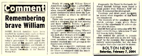 Bolton News - clip - Remembering brave William - 07 Feb 2004