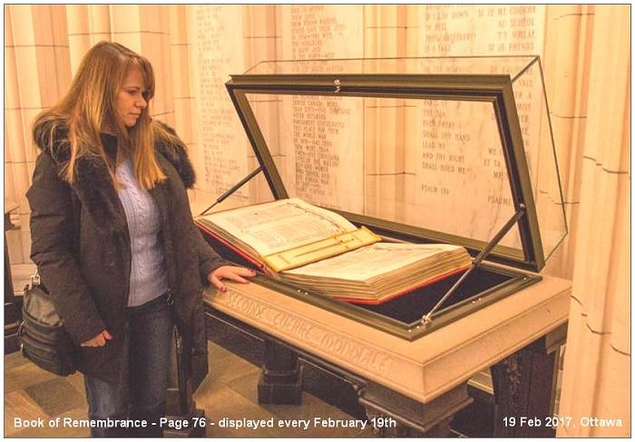 Brenda at Book of Remembrance - Page 76 - 19 Feb 2017, Ottawa