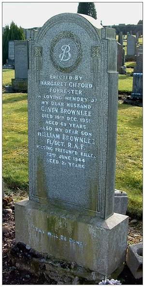 Brownlee memorial - at Cadder Cemetery, Scotland