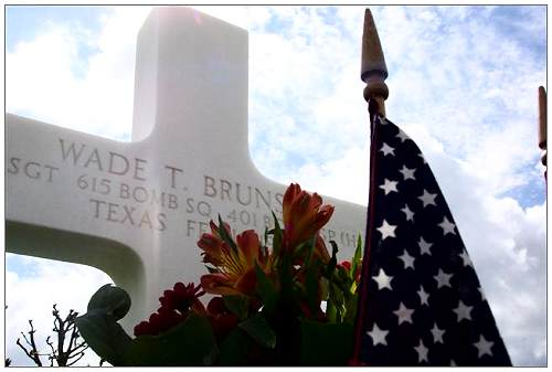 Grave of S/Sgt. Wade Travis Brunson at Margraten, NL