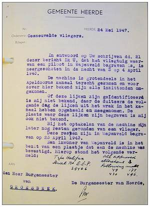Letter - burial 13 Apr 1943 - 'Unknown' - Royal Air Force