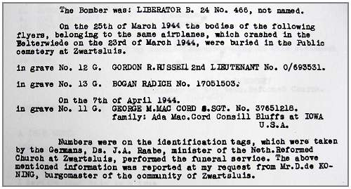 Burials Zwartsluis - statement - 11 Dec 1945