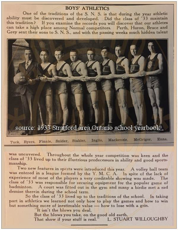Stanley Byers - Volleyball team - class of 1933 - S.N.S.
