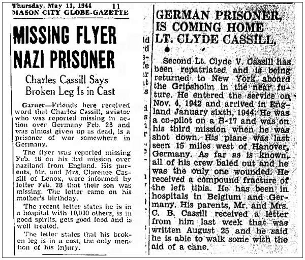 MISSING FLYER NAZI PRISONER - GERMAN PRISONER, IS COMING HOME LT. CLYDE CASSILL