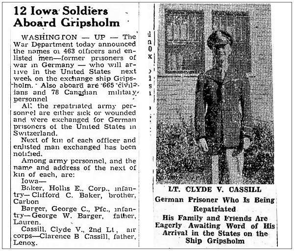 12 Iowa Soldiers Aboard Gripsholm . . . German Prisoner Who is Being Repatriated