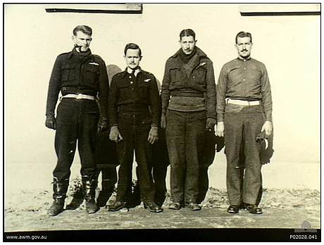 RAAF Prisoners - l-r: Tex McLead, Charles 'Chuck' Lark, unknown, unknown - Oflag XXI-B - Szubin, Poland