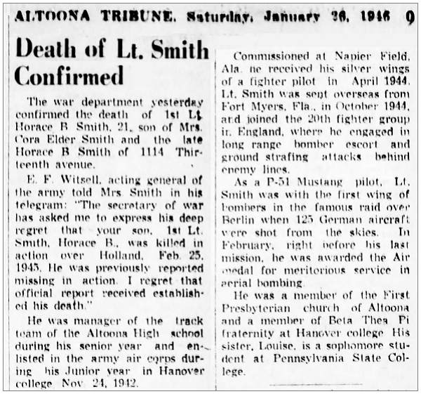 Clip - Death of 1st Lt. Horace Blessing Smith confirmed