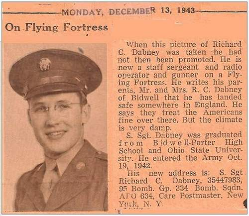 News clip - 13 Dec 1943 - S/Sgt. - Richard Clark Dabney