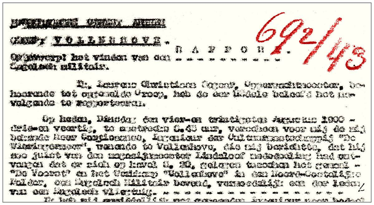 Clip header of report 692/43 Opw. Segaar - 24 Aug 1943
