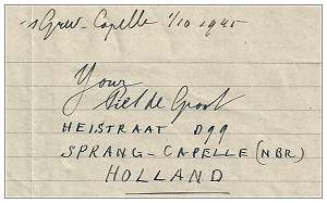 Piet de Groot, Heistraat D99, Sprang-Capelle (NBR), Holland - 01 Oct 1945