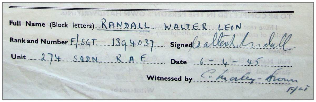 06 Apr 1945 - M.I.9. Evasion interview - Randall