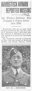 Newspaper clip - Flight Sergeant Winston James Dickinson - RCAF