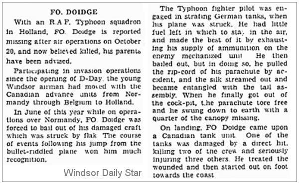 Clip - J/26406 - Flying Officer - Pilot - Ronald William Doidge - RCAF