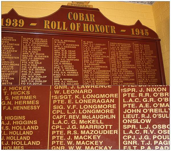 Cobar Roll of Honour 1939 - 1945