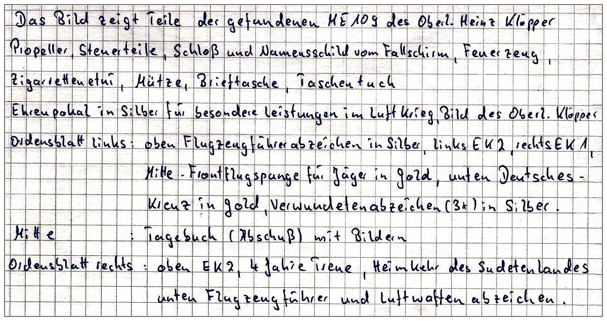 Info Collection - Oblt. Heinz Klöpper