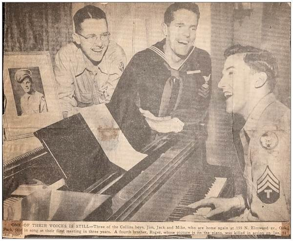 ONE OF THEIR VOICES IS STILL - Collins brothers - 1945 - Newsclip