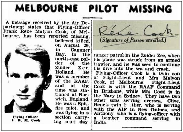 Newsclip - The Argus, 12 Oct 1944, Melbourne - inset is own signature