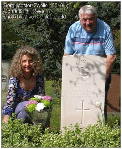 2010 - Corrie and Phil Rees at the grave of her Uncle Ronald Walter Game - photo by Mike Kleinlugtebeld