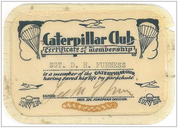 Caterpillar Club Card - Sgt. Derek Heaton Furness