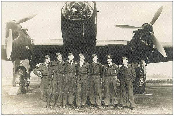 Crew Beattie - standing in front of Halifax - RCAF